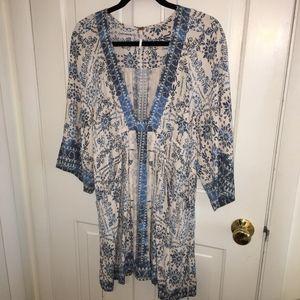Free People blue and white tunic dress size medium